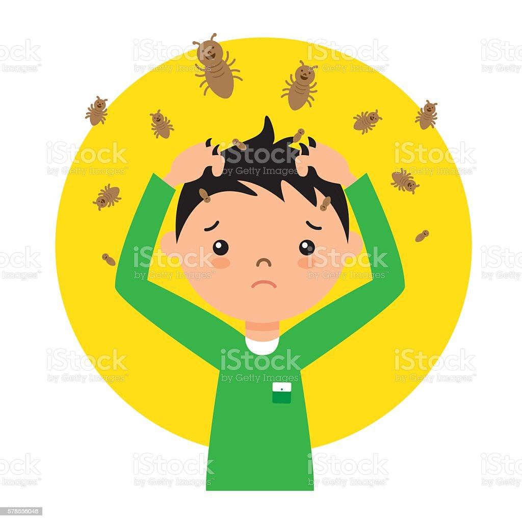 child with lice vector art illustration