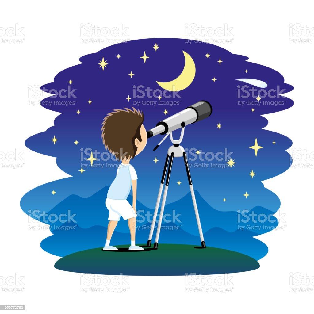 Kind mit Teleskop. – Vektorgrafik