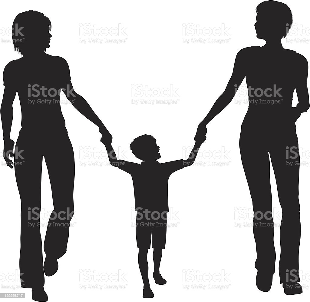 Child with Two Mothers royalty-free stock vector art