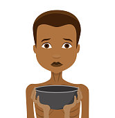 child without food with hunger symbol Flat Design