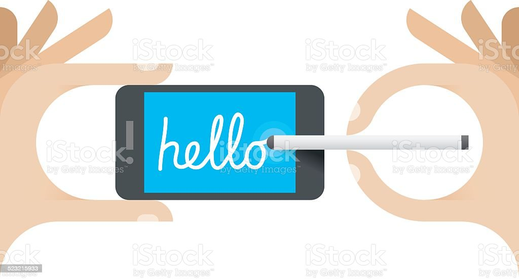 Child writing Hello word on mobile phone with stylus vector art illustration