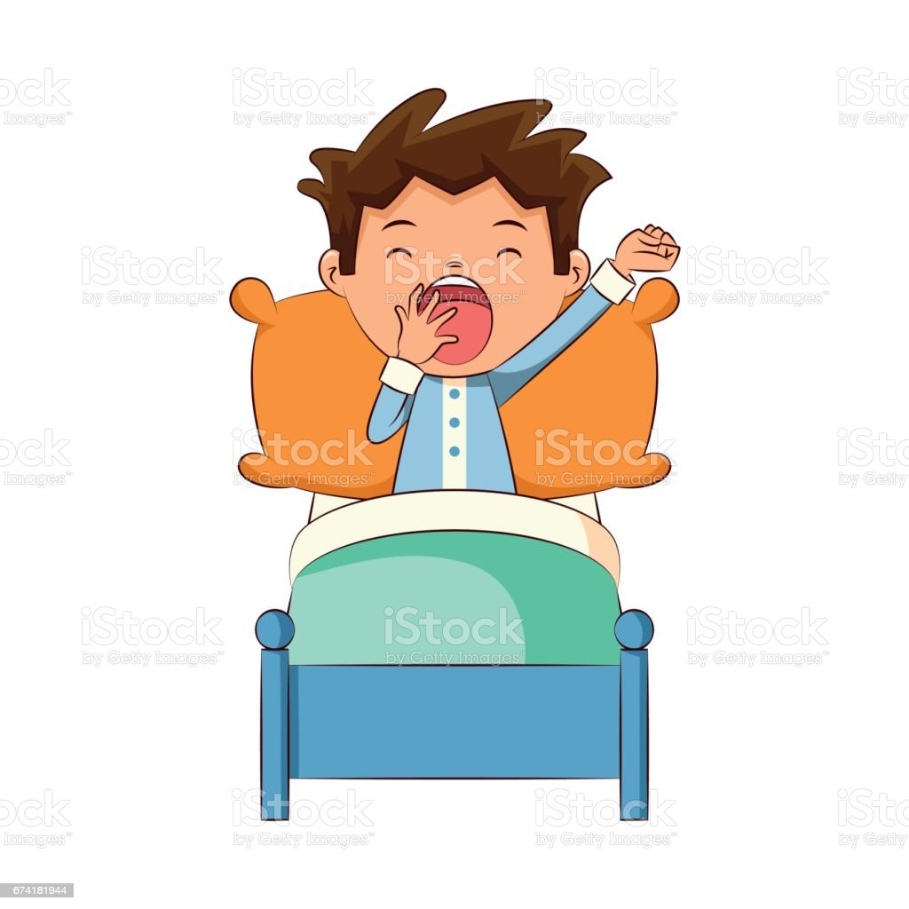 Child Yawning In Bed Stock Vector Art 674181944  Istock