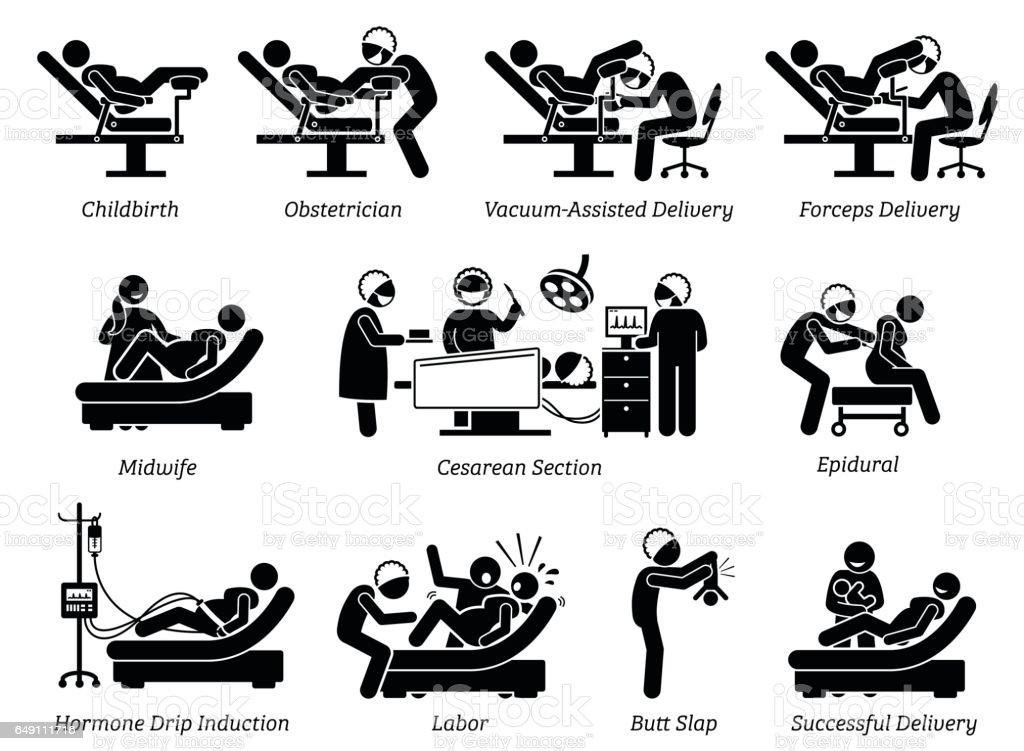 Childbirth at hospital. vector art illustration