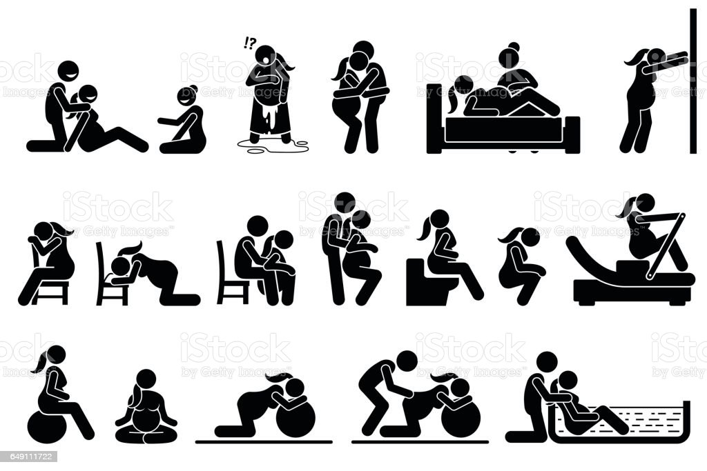 Childbirth labor positions and postures at home. vector art illustration