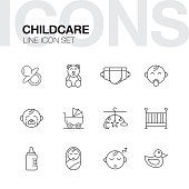Childcare Line Icons Set