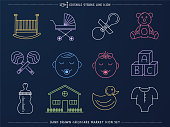 Elegant and minimal hand-drawn line icons set of childcare market. Would be perfect vector illustration for those looking to design drawings or sketches for mobile applications, web pages, stationery, cards and more.