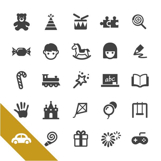 kindheit und frühe bildung ikonen - select serie - kind schaukel stock-grafiken, -clipart, -cartoons und -symbole