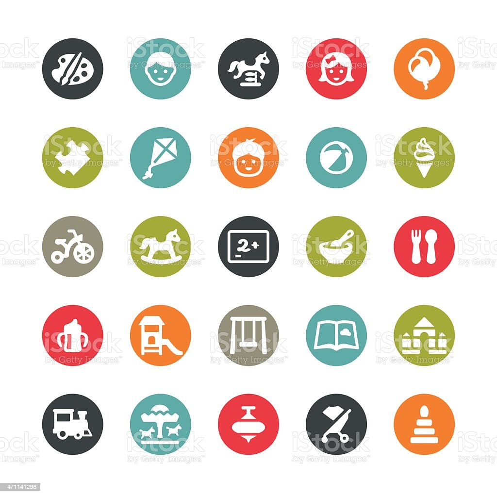 Childhood and Preschool related vector icons / Ringico series vector art illustration