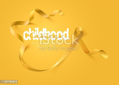 Childhood Cancer Awareness Calligraphy Poster Design. Realistic Gold Ribbon. September is Cancer Awareness Month. Vector Illustration