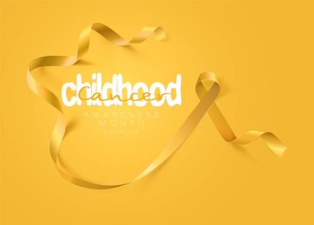 소아 암 인식 서예 포스터 디자인입니다. 사실적인 골드 리본입니다. 9월은 암 인식의 달입니다. 벡터 - 노랑 stock illustrations