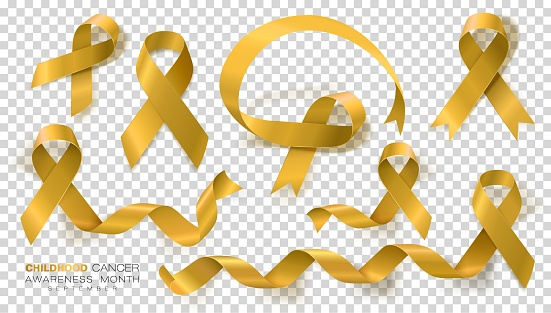 Childhood Cancer Awareness Month. Gold Color Ribbon Isolated On Transparent Background. Vector Design Template For Poster.