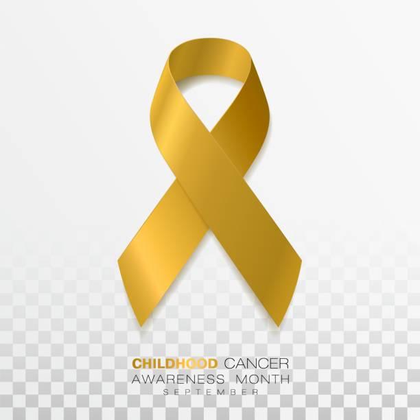 stockillustraties, clipart, cartoons en iconen met kindertijd kanker awareness maand. gouden kleur lint geïsoleerd op transparante achtergrond. vector ontwerpsjabloon voor poster. - geel