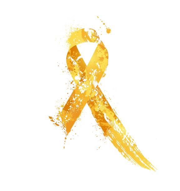 ilustraciones, imágenes clip art, dibujos animados e iconos de stock de concientización sobre el cáncer infantil de la cinta. - niñez