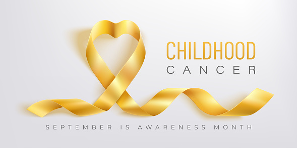 Childhood cancer awareness vector banner with gold ribbon