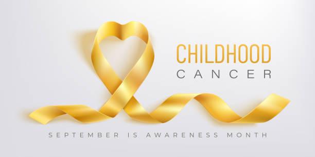 ilustrações, clipart, desenhos animados e ícones de bandeira do vetor da consciência do cancro da infância com fita do ouro - infância