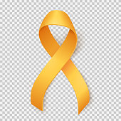 Realistic gold ribbon, childhood cancer awareness symbol, isolated over transparent background, vector illustration