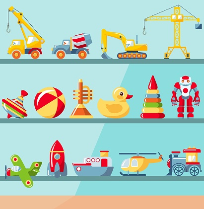Childhood concept. Shop shelves with children toys set. Cabinet with different kids playthings. Vector illustration.