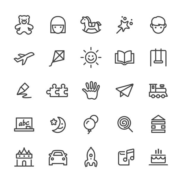 kindheit sicons - smart line serie - kind stock-grafiken, -clipart, -cartoons und -symbole