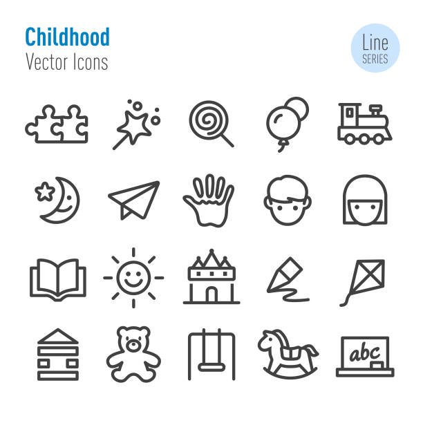 childhood icons - vector line series - przedszkole stock illustrations