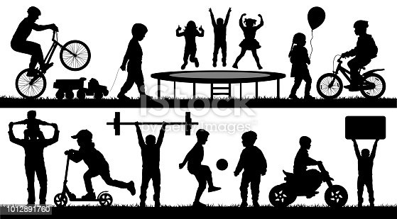Childhood, kids, different events. Children playing outdoor, silhouette vector set