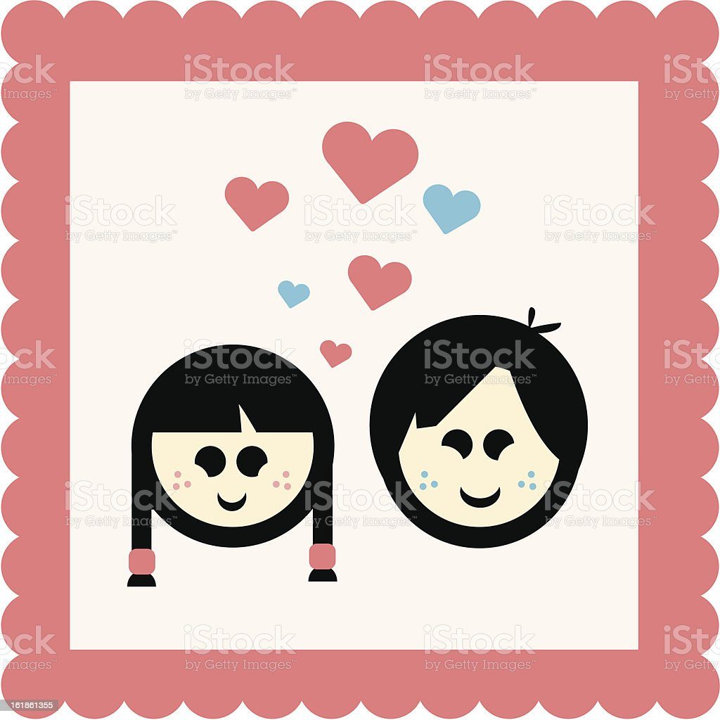 Childhood Sweethearts royalty-free stock vector art