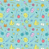 Childhood theme colorful doodle seamless pattern