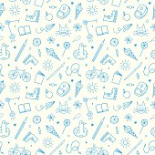 Childhood theme doodle seamless pattern