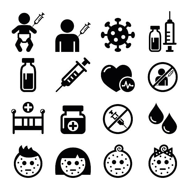 stockillustraties, clipart, cartoons en iconen met childhood vaccinations, chicken pox icon set - vaccin