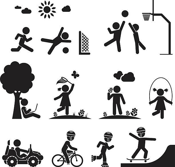 childhood vector set. - recess stock illustrations, clip art, cartoons, & icons