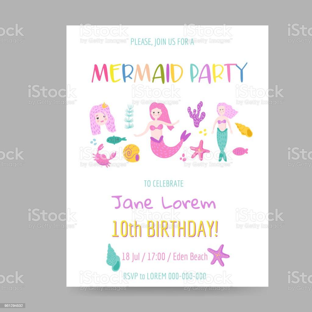 Ilustración de Plantilla De Invitación De Cumpleaños Infantil Con ...
