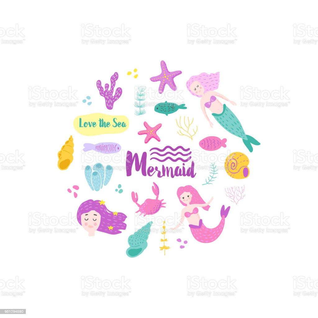Ilustración de Tarjeta Infantil Con Lindas Sirenas Y Criaturas ...