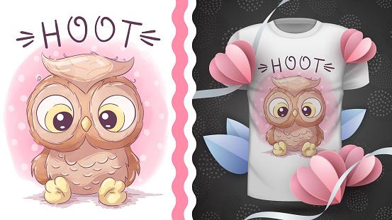 Childish cartoon character animal bird owl - idea for print t-shirt