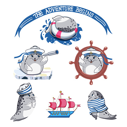 Childish collection of hand drawn seal pup with marine elements, lifebuoy, sailor tshirt, captains cap, steering wheel and sailboat.