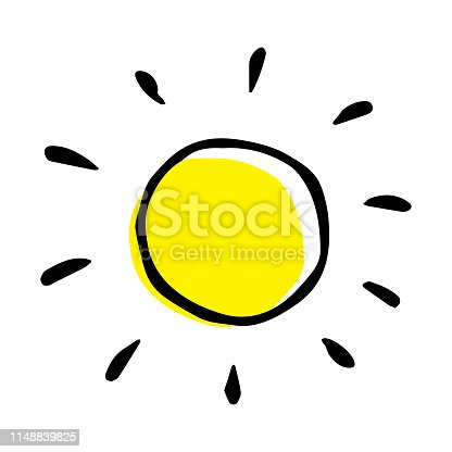 Childish style vector hand drawing of a sun. Creative isolated illustration.