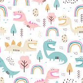 istock childish dinosaur seamless pattern for fashion clothes, fabric, t shirts. hand drawn. Vector illustration for baby and kids textile print, scandinavian style. 1224569634