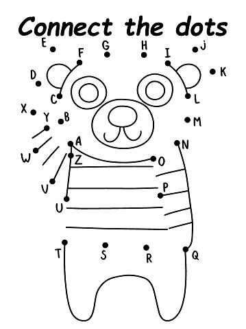 Childish dot-to-dot game with bear stock vector illustration