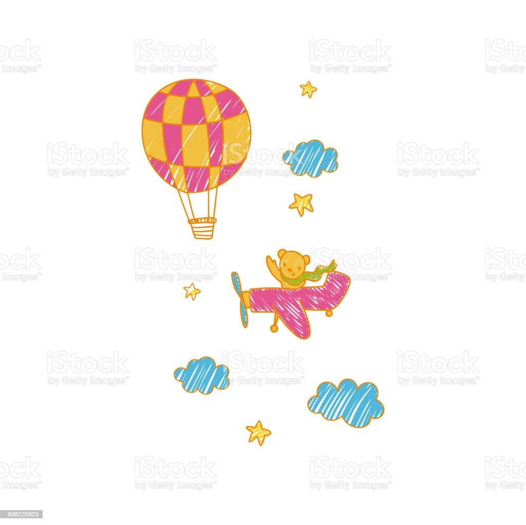ilustração de infantil desenho de avião e balão de ar do vetor do
