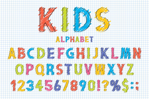 childish font and alphabet in school style. pencil scribbles stylized in english alphabet with numbers - alphabet drawings stock illustrations