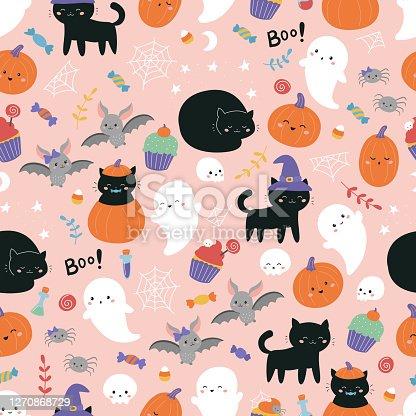 istock Childish Halloween seamless pattern. 1270868729