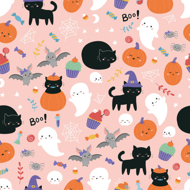 Childish Halloween seamless pattern. Cute cartoon black cats, sweets, bats, pumpkin and ghosts on pink background. Kawaii style illustration. black cat stock illustrations
