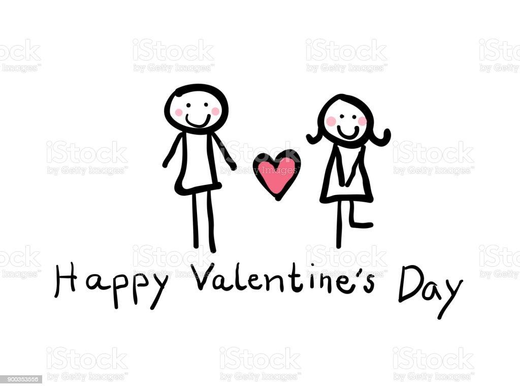 幼稚な手描きの最小限カップル男心と幸せなバレンタインの日の手書きの