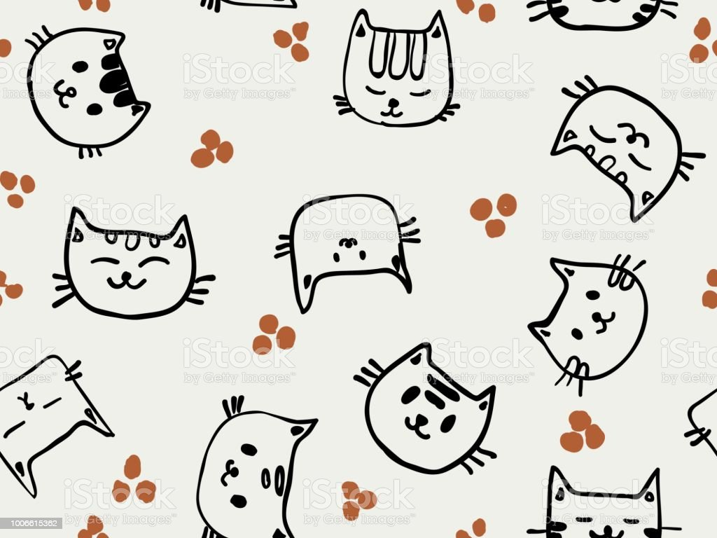 Childish Line Cute Doodle Cat Face Smiling Seamless Pattern For