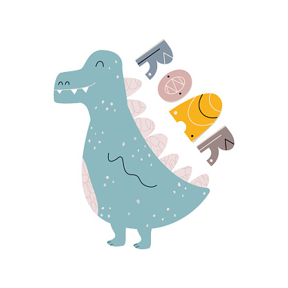childish print with cute dinosaur and lettering. Baby shower template. Stylish print for children's T-shirts, postcards. Minimalistic modern design. Vector illustration, doodle