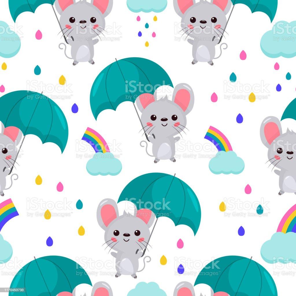 Childish seamless pattern. Cartoon kawaii mouse with umbrella....