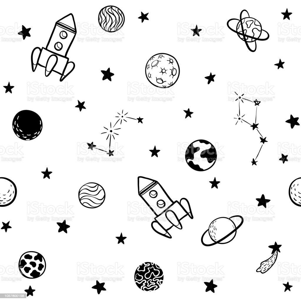 Astrologie Scandinave modèle sans couture enfantin la main espace dessiné éléments espace