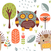 Childish seamless pattern with cute owl and hedgehog in forest. Scandinavian style. Vector Illustration. Kids illustration for nursery design. Great for baby clothes, greeting card, wrapping paper.