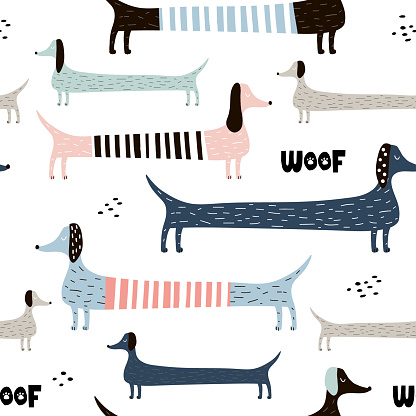 Childish seamless pattern with colorful dachshunds . Trendy scandinavian vector background. Perfect for kids apparel,fabric, textile, nursery decoration,wrapping paper