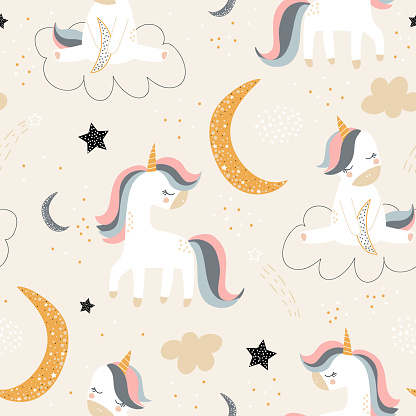 Childish seamless pattern with creative unicorns, moon, stars. Trendy kids vector background. Perfect for kids apparel, fabric, textile
