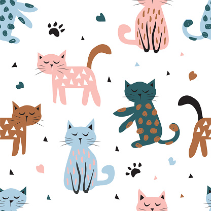 Childish seamless pattern with cute cat. Creative texture for fabric, textile