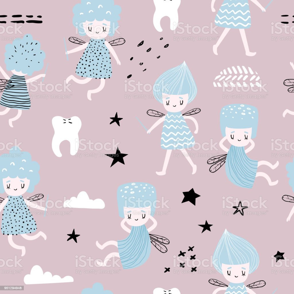 Childish Seamless Pattern With Cute Fairy Fairytale Girlish